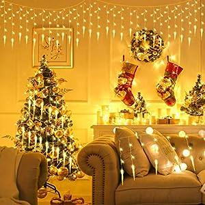 ALBERTU 400 LED Icicle Christmas String Lights,Icicle Fairy Lights, Pulg-in Curtain Fairy Lights for Christmas, Garden…