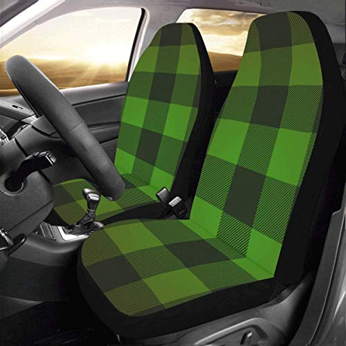 (INTERESTPRINT Car Seat Cover Protector Cushion Buffalo Check Lumberjack Plaid-Green Comfortable Wear Resistant Universal Automobile Seat Covers)