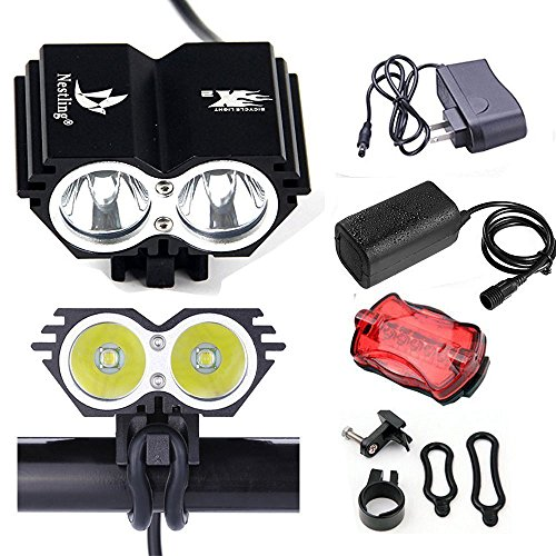 Elephant XuWaterproof 5000 Lumens XM-L U2 LED Bicycle Light 4 Modes Super Bright Bike Lamp Headlight with 8.4V Rechargeable Battery Pack and Charger for Camping, Cycling, Hiking, Riding - Black