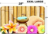 Luxlady Large Table Mat Non-Slip Natural Rubber Desk Pads Spa setting and bamboo background IMAGE ID 27500137