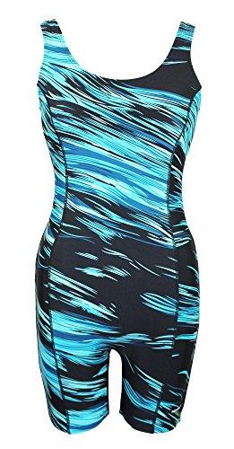 Adoretex Womens Sunfire Unitard Swimsuit - Blue/Black - M