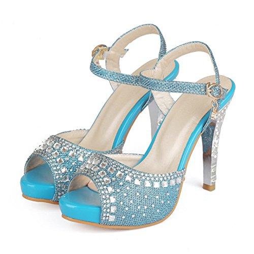 WeenFashion Buckle Materials Heels Toe Solid Blend Sandals Women's High Blue Peep q4qU6S