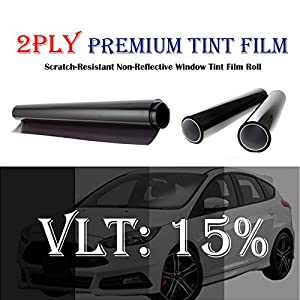 2PLY 1.5 mil Premium 15% VLT 24 In x 15 Ft (24 x 180 Inch) Feet Uncut Roll Window Tint Film Auto Car Home