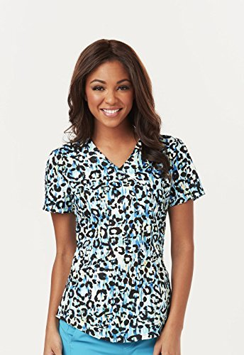 Animal Print Scrub Tops (Careisma by Sofia Vergara Women's Charlize Mock Wrap Animal Print Scrub Top X-Small Print)