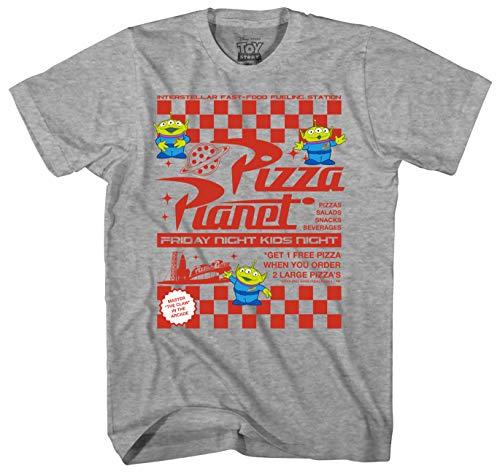 Disney Toy Story Pizza Planet Flyer Men's Adult Graphic Tee T-Shirt (Grey Heather, Medium) -