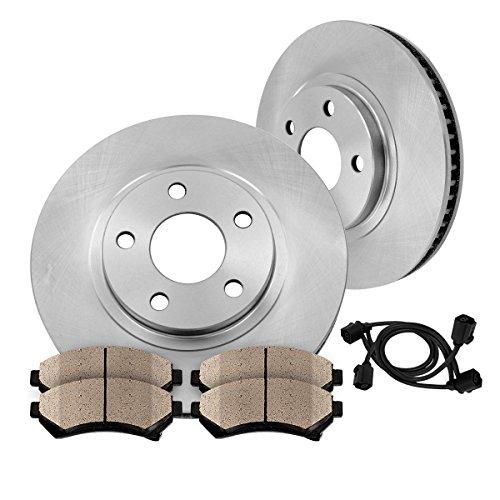 [ E60 E63 ] FRONT 348 mm Premium OE 5 Lug [2] Brake Disc Rotors + [4] Ceramic Brake Pads + Sensors (E63 Brake Pad)