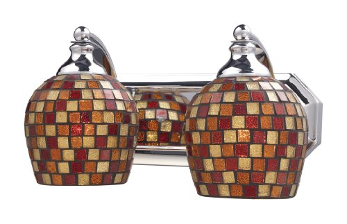 Elk 570-2C-MLT 2-Light Vanity In Polished Chrome and Multi Mosaic Glass (Mlt Vanity Vanity Light)