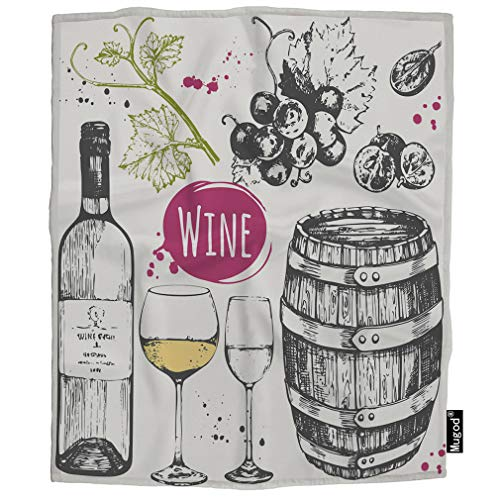 (Mugod Wine Blanket Winemaking Products Barrel Glass Grape Twig Alcoholic Drink Fuzzy Soft Cozy Warm Flannel Throw Blankets Decorative for Boys Girls Toddler Baby Dog Cat 40X50)