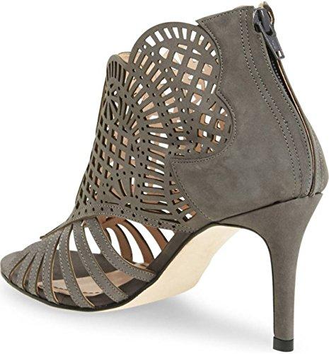 Klub Nico Womens mirelle Cutout Caged Bootie Single Sole Mid Heel Open Toe Pump Charcoal N66WR6R