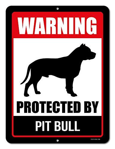 Honey Dew Gifts Pitbull Sign Warning Protected by Pit Bull 9 x 12 Inch Beware of Dog Warning Metal Aluminum Tin Sign - Pitbull Accessories, Pitbull Yard Signs