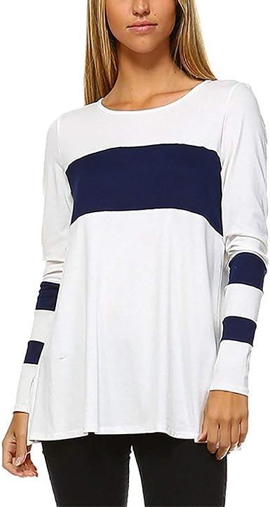 Yasminey Camisa De Damas Patchwork Camisetas Bajo Camisa Larga Manga Largas Camisas Chic Ropa Cuello Redondo Camiseta Básica Blusas Tops Mujeres: Amazon.es: Ropa y accesorios