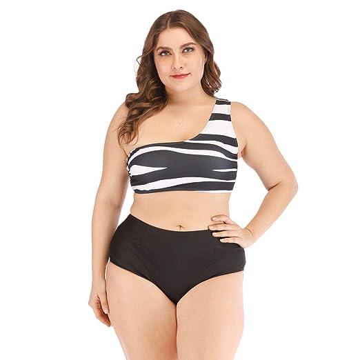 239b51aa3c Women s Plus Size Sexy Slim Beach Print Push Up Bikini Set High Waist  Hollow Out Swimsuit