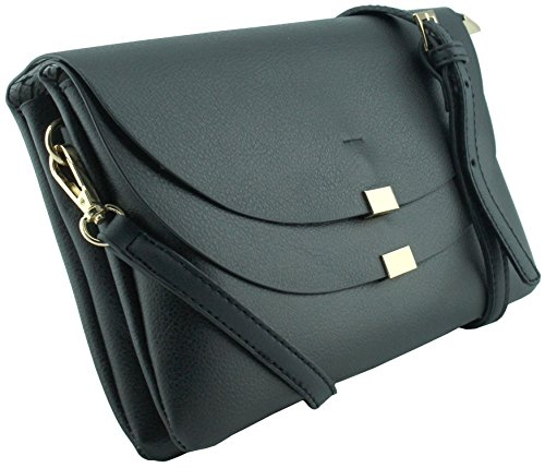Amy&Joey three compartments double flap cross body handbags and clutch bags (BLACK) Double Flap Handbag