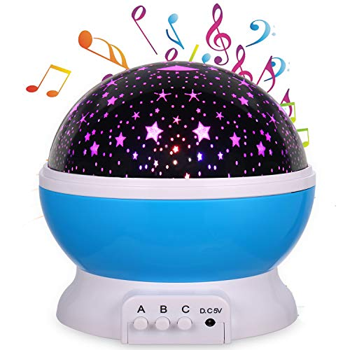 Lullaby Star Projector Night Light,MINGKIDS Rechargeable Stars Moon Projector Warm Night Lamp,Changing Color Light,Rotation,12 Songs,Gift for Babies Children,Nursery (Star Moon Projector) by MINGKIDS