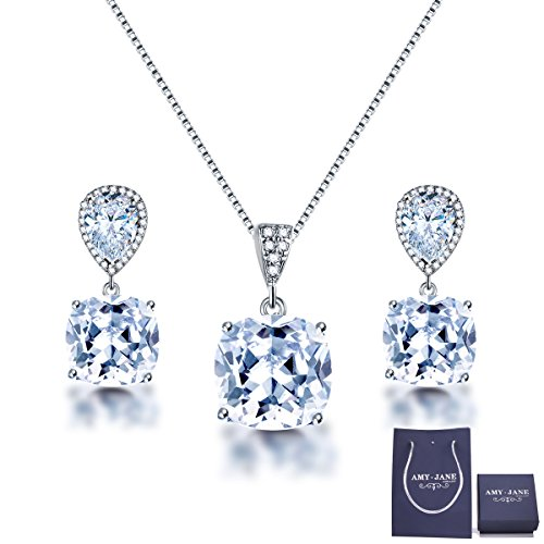 Elegant Jewelry Set for Women - AMYJANE Silver Teardrop Clear Cubic Zirconia Crystal Rhinestone Drop Earrings and Necklace Bridal Jewelry Sets Best Gift for Bridesmaids 5000+ Instagram Like Bridesmaid Rhinestone