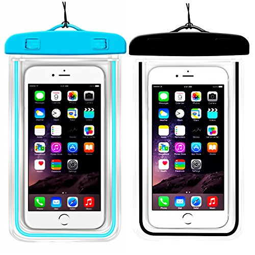 (2Pack) Universal Waterproof Case for iPhone Xs Max XS XR X 8 7Plus 6 6S Samsung Galaxy s8/s8plus/s7 Google Pixel HTC10 for Water Parks/Beach/Cruise/Pools up to 6.3