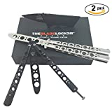 Butterfly Knife Trainer By THE BLADE LOCK3R - | Balisong Practice Folding Knife Set + Unsharpened Blade + Set of 2, Black and Silver