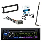 JVC 1-DIN Bluetooth CD/AM/FM Car Stereo with Sirius Radio Tuner, Metra 99-6503 Dash Kit For Chry/Dodge/Jeep, Metra Antenna Adapter Cable & Metra Radio Wiring Harness