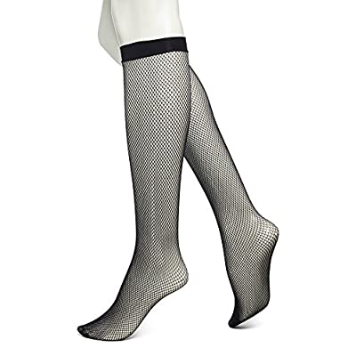 No Nonsense Women's Fishnet Knee High Trouser Sock, Black, One Size at Women's Clothing store