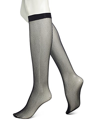 No Nonsense Women's Fishnet Knee High Trouser Sock, Black, One Size (Black Fishnet Knee Highs)