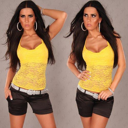 Al cuello con estampado de puntas-top con cascada-cuello einheitsgr. 32-38 amarillo