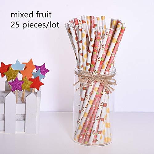 SJCWQBYDF 25 piezas Topper de la torta Pajitas de papel de ...