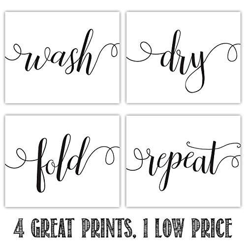 Wash/Dry/Fold/Repeat - Set of Four - 8x10 Unframed Typography Art Prints - Great Laundry Room Decor, Also Makes a Great Gift Under $20