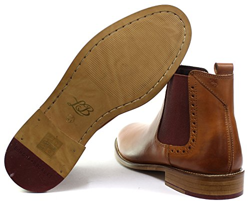 London Brogue richelieus Gatsby Chelsea Uomo Pelle Stivali Tan Leather