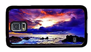 Hipster Samsung Galaxy S5 Cases stylish purple red sunset coast PC Black for Samsung S5