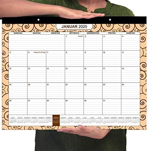 Deutsch Wandkalender 2020 - Januar 2020 to Dezember 2020 (43.2 cm x 55.8 cm) Monatsplaner - Monat zur Ansicht Tischkalender Schule, Büro