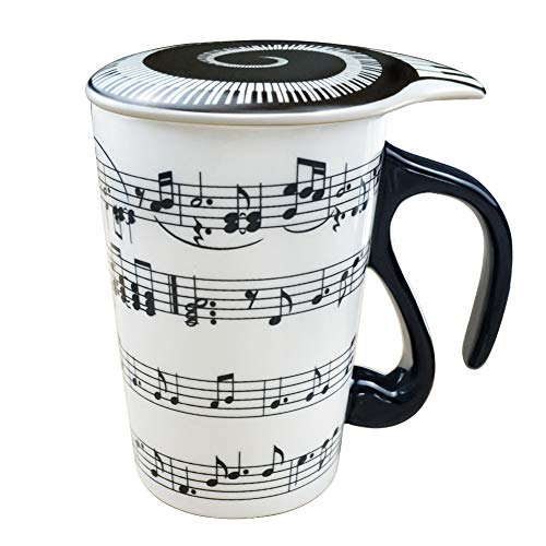 13.5 Oz Mug for Music Lover Coffee Cup with Lid Staves Music Notes Tea Milk Ceramic Mug Cup Best Gift (Ideas Lovers Music Christmas)
