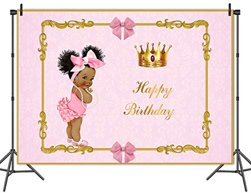 Mehofoto Royal Princess Birthday Party Backdrop 8x6ft Vinyl Africa American Girl Photography Background Pink Bow Crown Royal Princess Birthday Party Banner -
