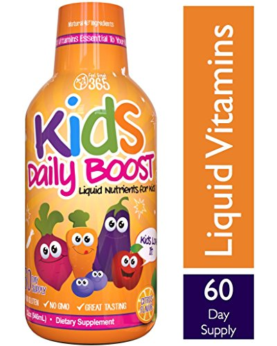 Children's Liquid Multivitamin by Feel Great 365, Daily Value of 14 Vitamins, Halal, Paleo and Vegetarian Friendly, Non-GMO, Sugar-Free, Gluten Free, Methyl B-12 Vitamin D3, Great Taste