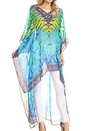 Sakkas P23 - HiLowKaftan Zeke Hi Low V-Neck Caftan Dress Boxy Printed Top Cover/Up - 1719-Turquoise/Yellow -OS
