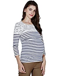 Sweet Mommy Maternity and Nursing Half Length Sleeves Striped T-Shirt Top