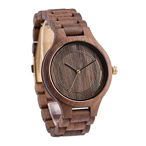 Handmade Wood Watch for Man or Woman - OMELONG Lightweight Wooden Wrist Watch with Japan Quartz Movement Gold Circles on Round Dail (Japan Movement)
