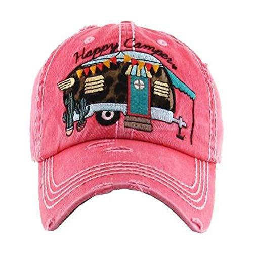 KB Adjustable Happy Camper Distressed Baseball Cap Hat (Leopard Cheetah Pink)