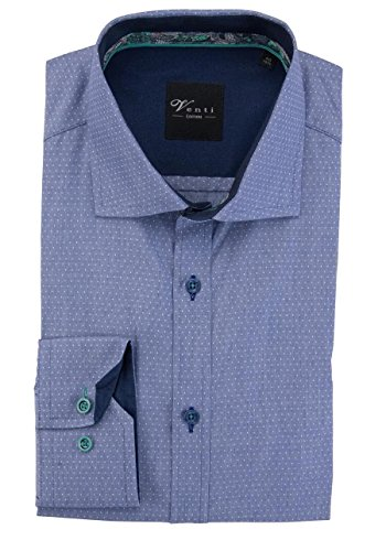 VENTI Slim Fit Hemd Langarm New Kent Struktur blau