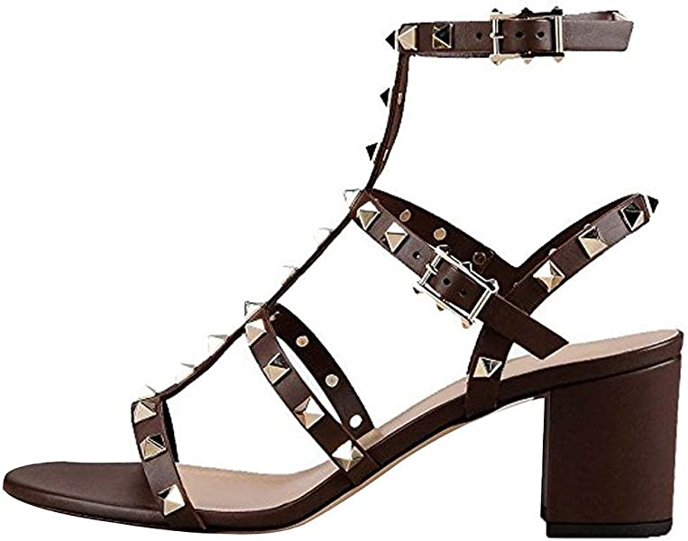0e9e66b5a Comfity Leather Sandals for Women,Rivets Studded Strappy Block Heels  Slingback Gladiator Shoes Cut Out