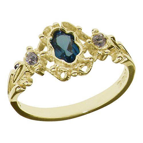 9ct Yellow Gold Natural London Blue Topaz & Diamond Womens Trilogy Ring -...