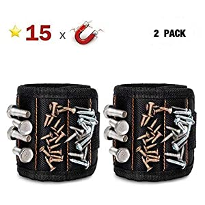 GOOACC G0010A 2 Pack 15 Magnetic Wristband Holding Screws Nails Drill Bits Gadgets Tools Gift for Men Him Dad DIY Handyman Electrician Husband, 2 Pack
