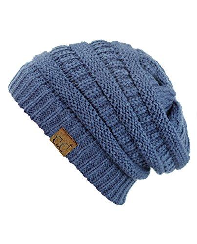 Cute One Beanie - C.C Trendy Warm Chunky Soft Stretch Cable Knit Beanie Skully, Dk Denim