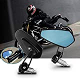 "CAR ROVER Motorcycle Rearview Side Mirrors 7/8"" 22mm Handlebar CNC Bar End Mount Scooter Cruiser Sport Bike"