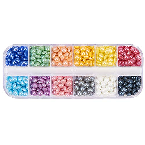 (PH PandaHall 1 Box 12 Colors 5.5mm Pearlized Plated Handmade Porcelain Cabochons Half Round for Craft DIY Nail Making (About 600pcs))