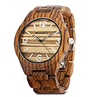 WONBEE Wooden Watch for Men/ Women-Handmade Wood Watches-Wood Watchband-Wood Bezel-Luminous Display-Zebra Wood-ARABTOON Series