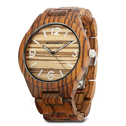 WONBEE Wooden Watch for Men/ Women-Handmade Wood Watches-Wood Watchband-Wood Bezel-Luminous Display-Zebra Wood-ARABTOON Series