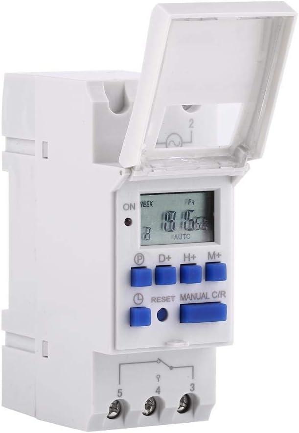 LCD temporizador semanal programable temporizador digital programable en la gu/ía DIN rel/é temporizador 16 on /& 16 off Temporizador programable digital
