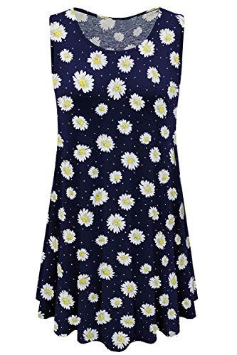 Womens Summer Lightweight Sleeveless Shirt Floral Tunic Tank Top Daisy Print XL