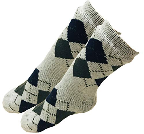 Mens Christmas Snowflakes Argyle Thick Knit Sherpa Fleece Lined Thermal Fuzzy Slipper Socks Size 10-13 (Gray/Blue Green) ()