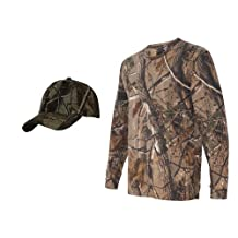 Realtree Camouflage Long Sleeve Shirt + Upscale Camo Hat, AP L